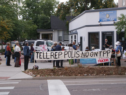 Pictures and Video from People's Town Hall Meeting on the TPP at Congressman Jared Polis' Bo