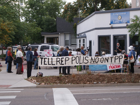 Please collect letters against the TPP to deliver to the Boulder office of Representative Polis Thur