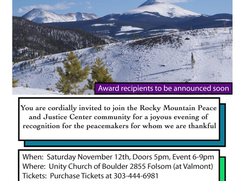 2016 Elise Boulding Peacemaker of the Year Award Ceremony, November 12th