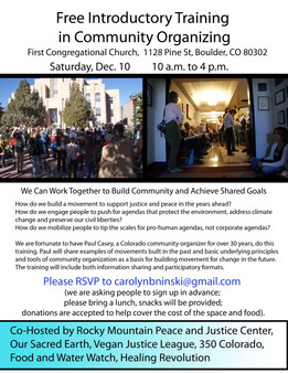 Free Introductory Training in Community Organizing December 10th
