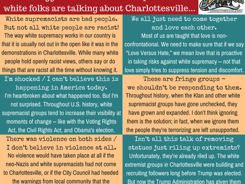 Some suggestions for how to respond when white folks are talking about Charlottesville