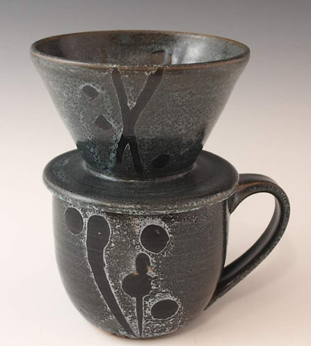 Coffee Pour-Over Set Grey/Black Graphic