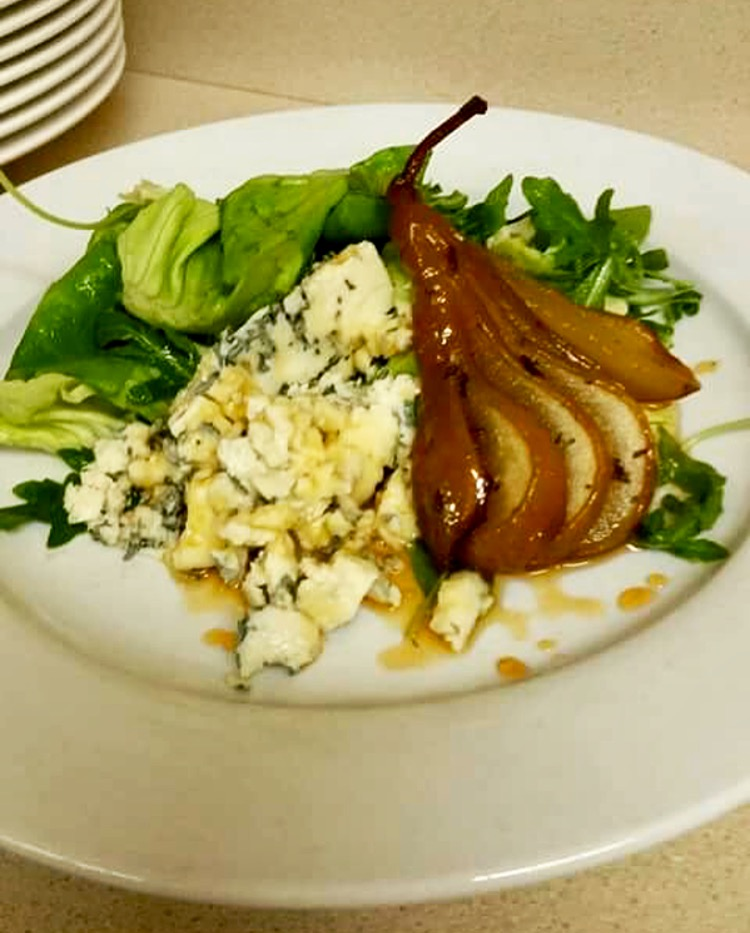 Poched Pear and Blue Cheese Salad