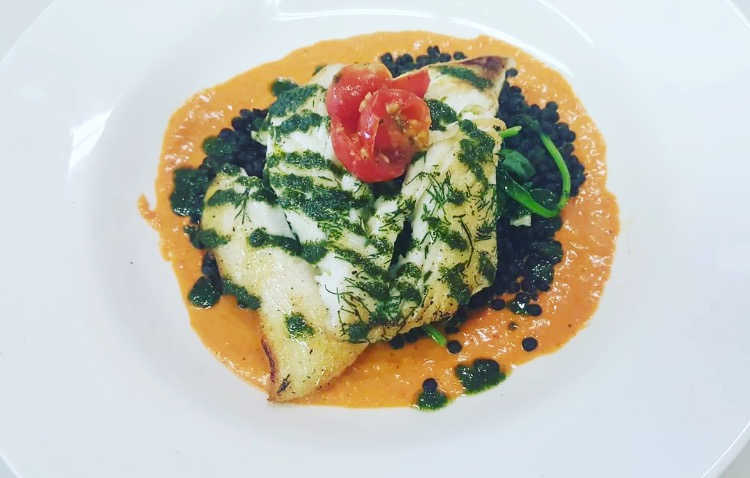 Halibut, French Lentils, Red Peppers