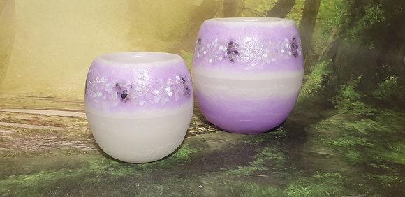 Lampion malý s kameny - bílý s fialovým tónováním