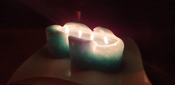 Svíce Srdce dvojité 20x7 Tyrkys