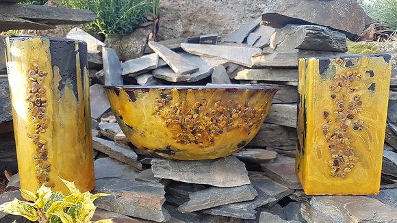 Wellness mísa černo žlutá (tmavší) s drahými kameny