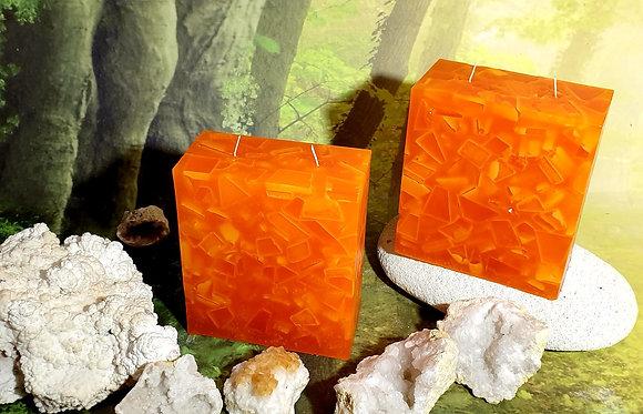 Svíce Červený pomeranč 7x14x16 KVÁDR