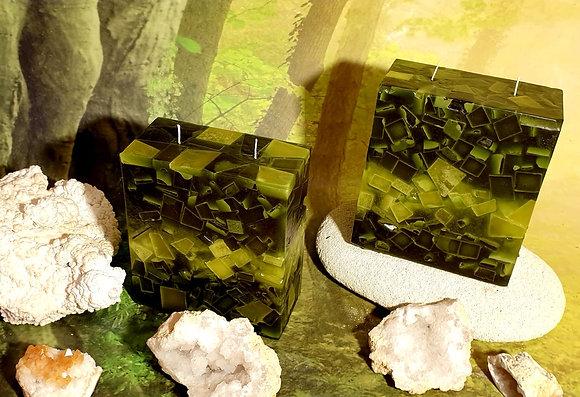 Svíce Měchově zelená 7x14x16 KVÁDR
