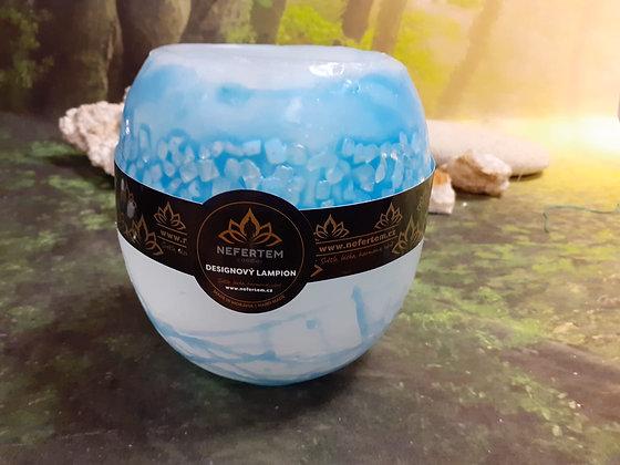 Lampion malý s kameny - bílý s modrým tónováním