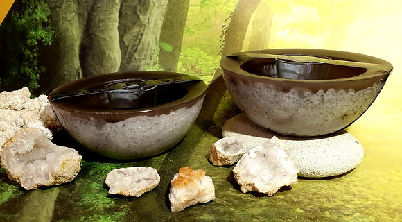 Wellness mísa černá s bílým tónováním a s kameny