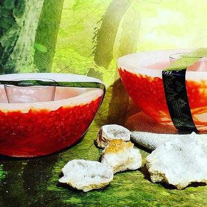 Wellness mísa bílá s červeným tónováním s drahými kameny