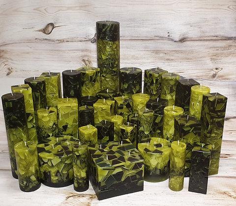 Svíce Mechově zelená 10,5x10,5x19