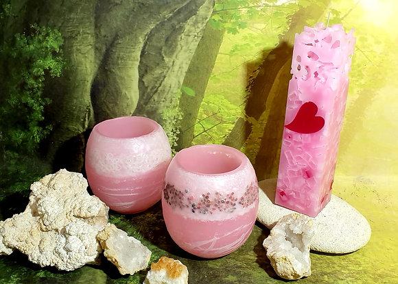 Lampion malý s kameny - jemně růžový
