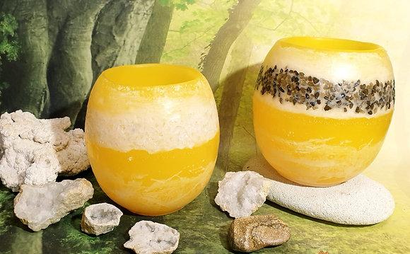 Lampion velký s kameny - žlutý s bílým tónováním