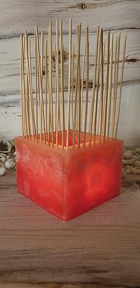 Lampion s bambusovými tyčinkami lososová