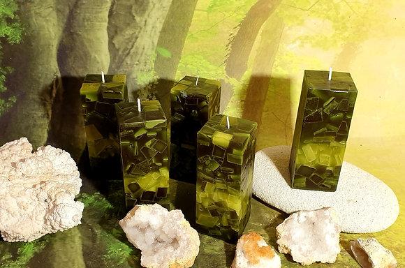 Svíce Mechově zelená 6x6x16