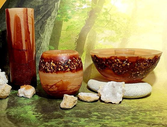 Lampion malý s kameny tm. béžový s hnědým tónováním s kameny
