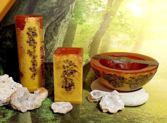 Váza / Květináč 10x30 medová s drahými kameny