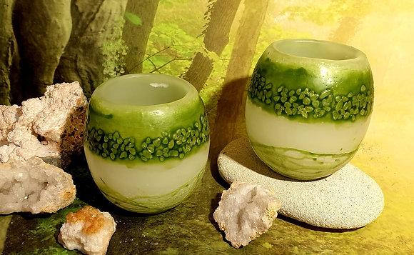 Lampion malý s kameny bílý se zeleným tónováním