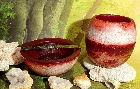 Lampion velký s kameny - červený