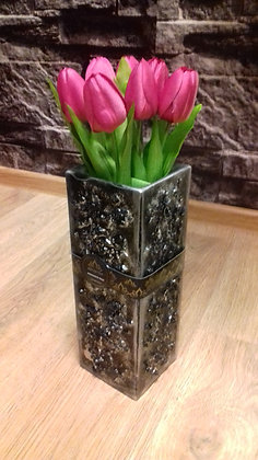 Váza 11x11x30 cm Stonelike stříbrná