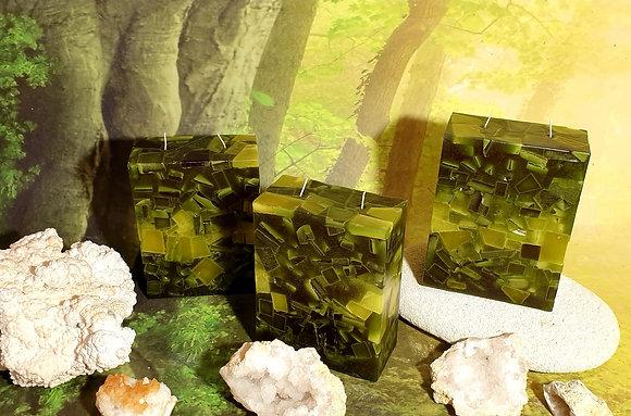 Svíce Mechově zelená 6x12x16 KVÁDR