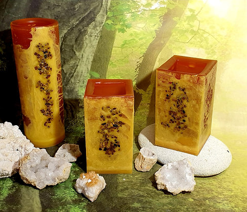 Váza / Květináč 10,5x10,5x19 medová s drahými kameny