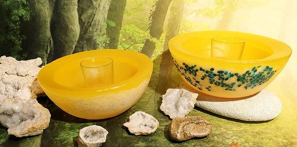 Wellness mísa jemně žlutá s drahými kameny