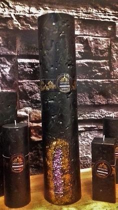 Svíce Černá 10x50 s kameny