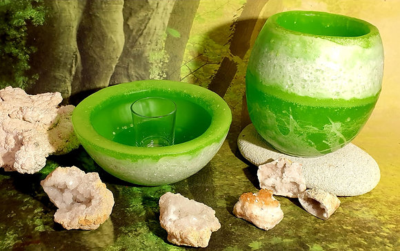 Lampion velký s kameny - zelený