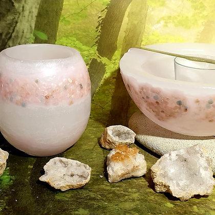 Lampion malý s kameny bílý s růžovým tónováním