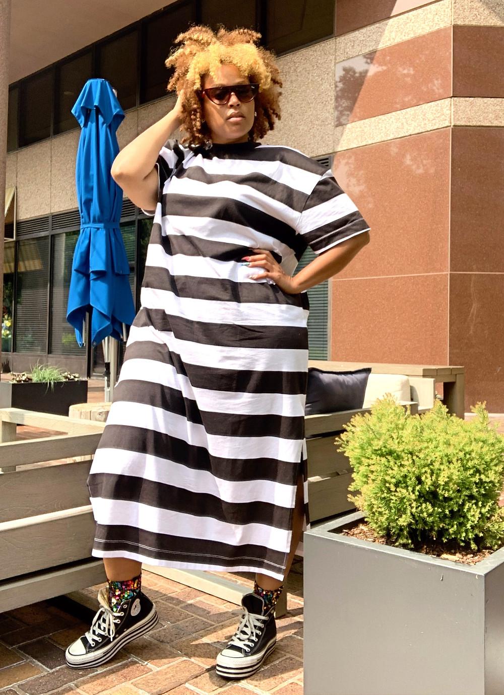 Jail stripes couture from ASOS along sequin socks, Platform Converse #chucks
