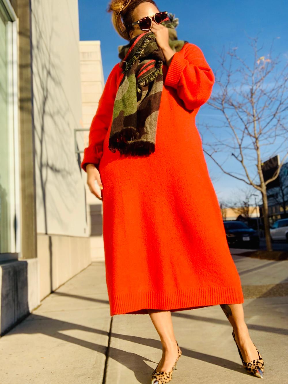 DMV Blogger wearing orange sweater dress from ASOS
