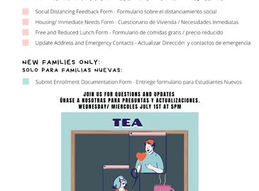 Important Information for New Families - Informacion importante para familias nuevas