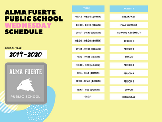 Daily Schedule for the 2019-2020 School Year!
