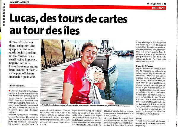 Lucas Barreaux article du télégramme