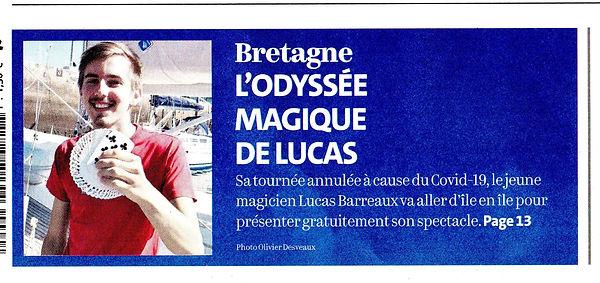 Lucas Barreaux Magicien Première page du télégramme Bretagne