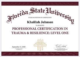 Khalilah Johnson Certified Trauma and Re