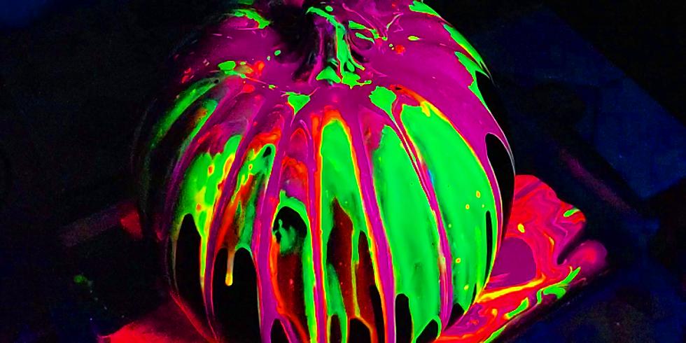 Glow Paint Pour Pumpkins