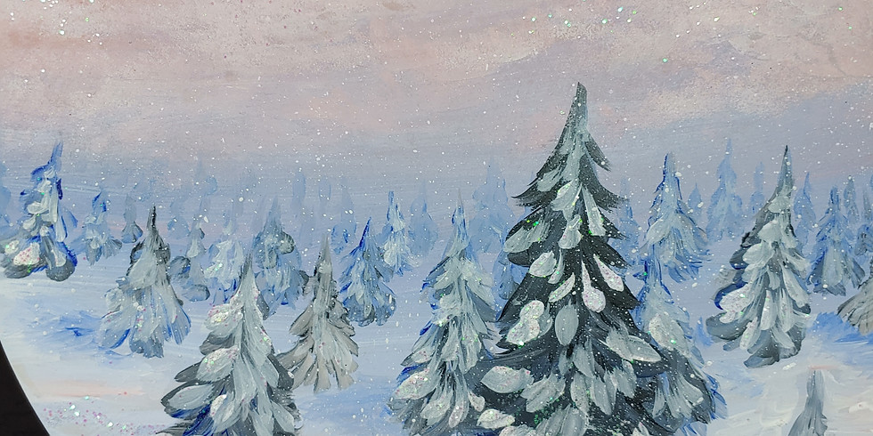 Snow Pines 1/9 acrylic canvas painting 11-1