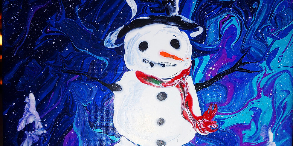 CanvasPaintPour/Sat 1/18,6-8 Snowman