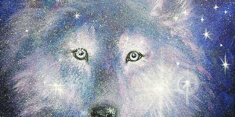 Night Wolf/Jan.30th acrylic canvas painting Thurs. 11-1