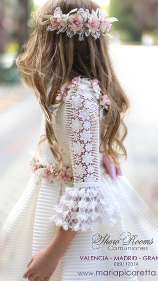 Vestido de Comunión manga Guipur