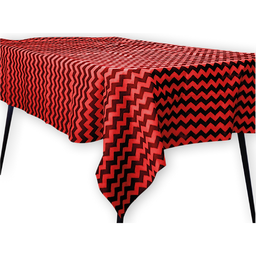 Mantel Estandar Rojo Zigzag Negro