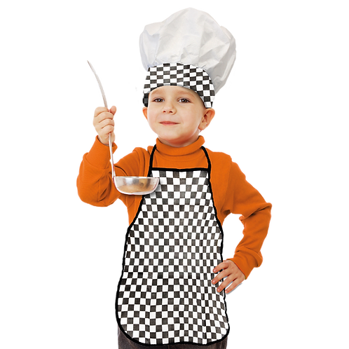 Set de Cocinero Niño Cuadritos Negro