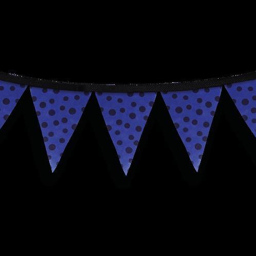Banderín Azul Con Lunares Negros x5