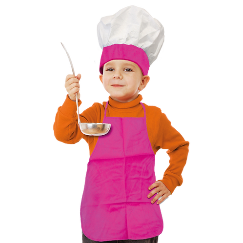 Set de Cocinero Niño Liso Fucsia