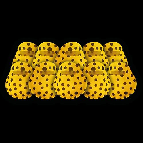 Bolsita Redonda Amarillo a Lunares Negros x10