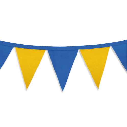 Banderin Liso Azul y Amarillo x5